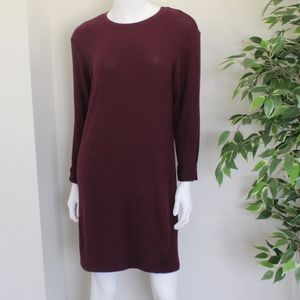 Long Sleeve Burgundy Sweater Dress